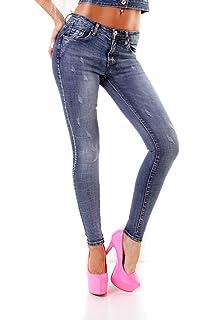 5214 Knackige Damen Jeans Röhrenjeans Hose Stretch-Denim Damenjeans Destroyed