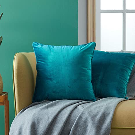 Topfinel juego 2 Hogar cojín terciopelo Decorativa Almohadas Fundas color sólido Para Sala de Estar sofás 40x40cm Turquesa
