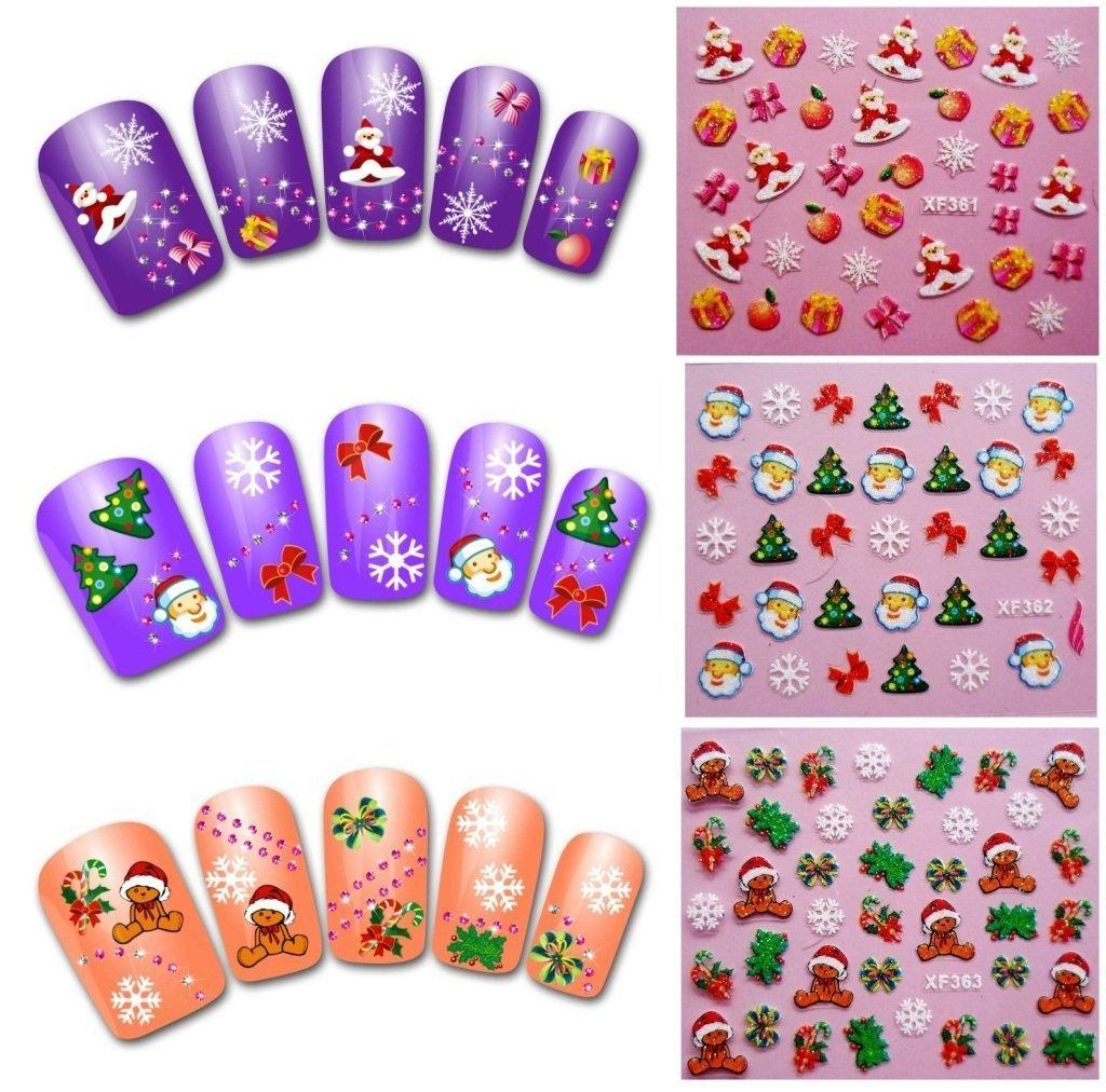Decoración de uñas Navidad, Deesos 5 Hojas Semipermeable Delgado Adhesivo 3D Diseño arte de uñas Sticker Tip Decal Manicure patrón de navidad
