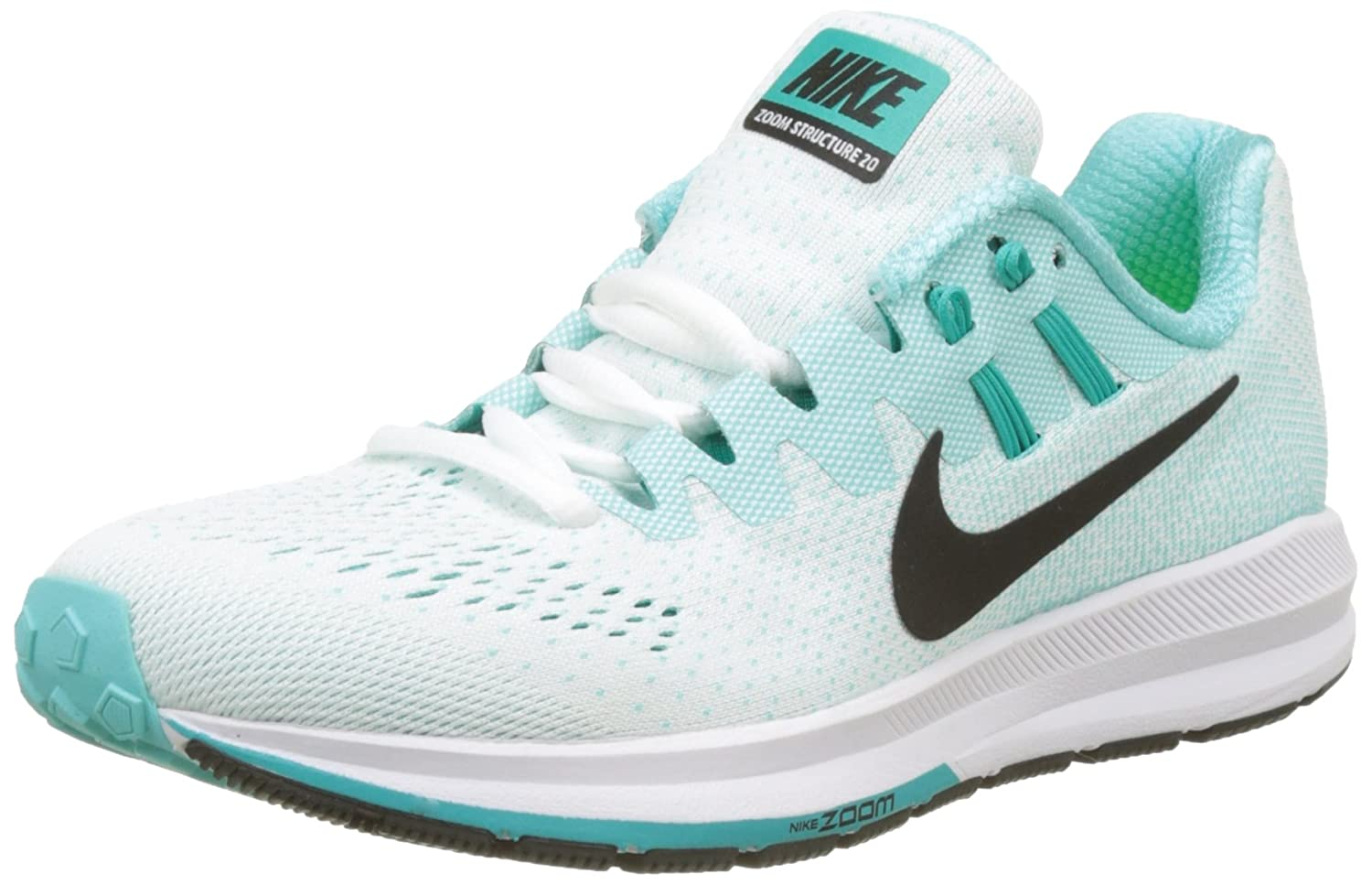 Nike Wmns Air Zoom Structure 20, Zapatillas de Running para Mujer 40.5 EU|Turquesa (White/Black/Aurora Green/Clear Jade/Igloo)