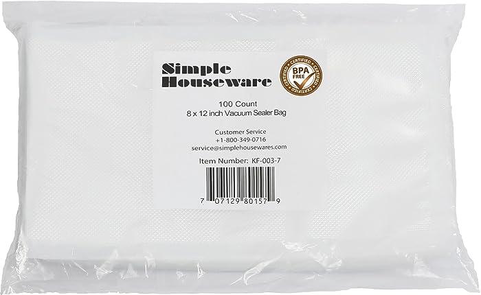 "100 Count - Quart Size 8"" x 12"" Vacuum Sealer Bag Food Storage Saver Commercial Grade Precut bags for Foodsaver and Sous Vide"