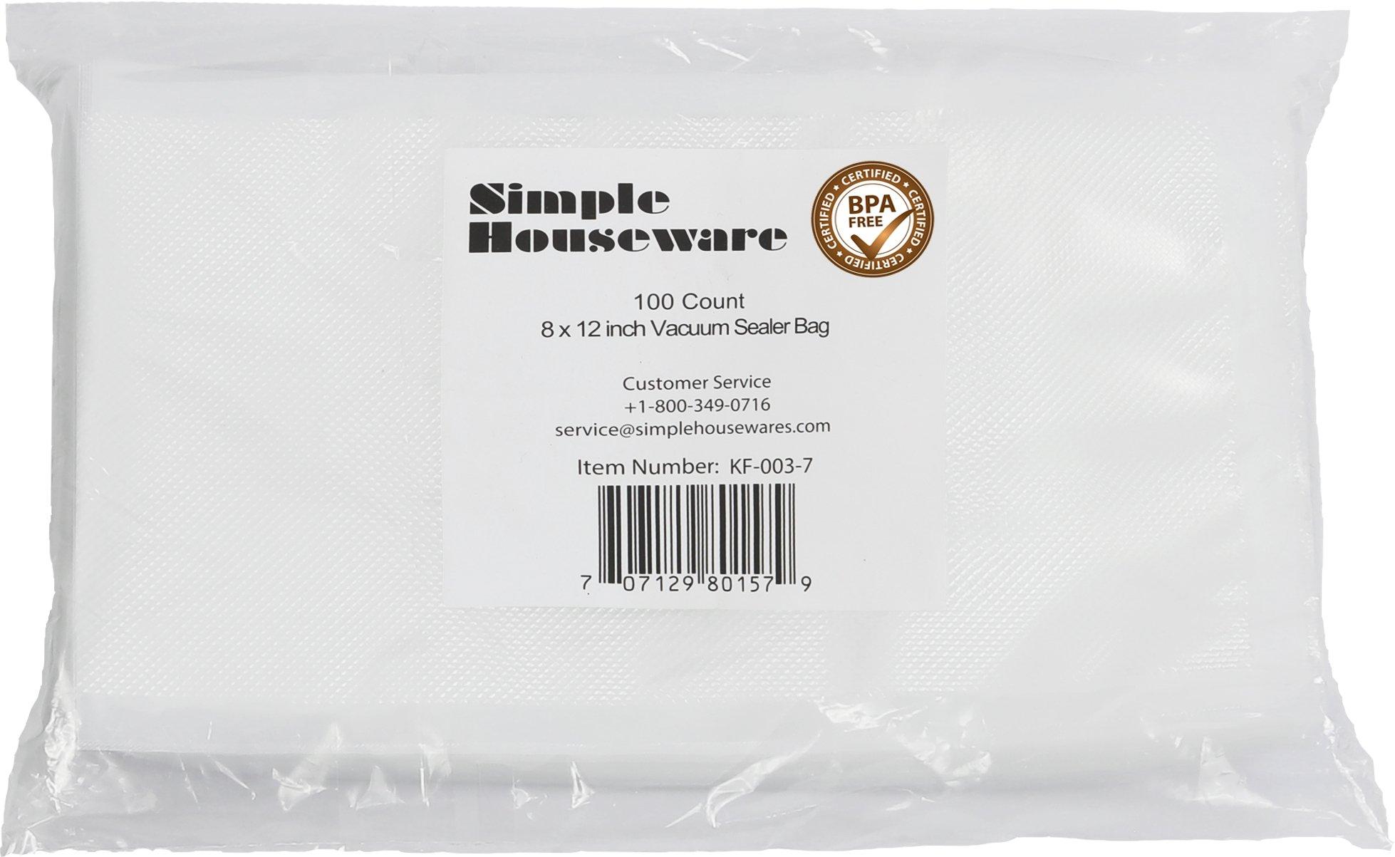 100 Count - Quart Size 8'' x 12'' Vacuum Sealer Bag Food Storage Saver Commercial Grade Precut bags for Foodsaver and Sous Vide