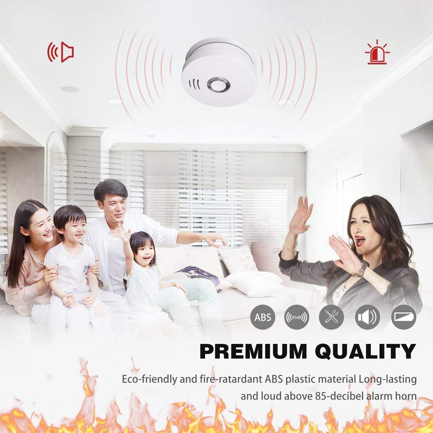 Smoke Detector and Fire Alarm 4 Pack Photoelectric Sensor Smoke Alarms Easy to Install Fire Alarm With UL Listed, Light Sound Warning, Test Button,9V Battery Included Fire Safety for Home Hotel School by SITERWELL (Image #5)