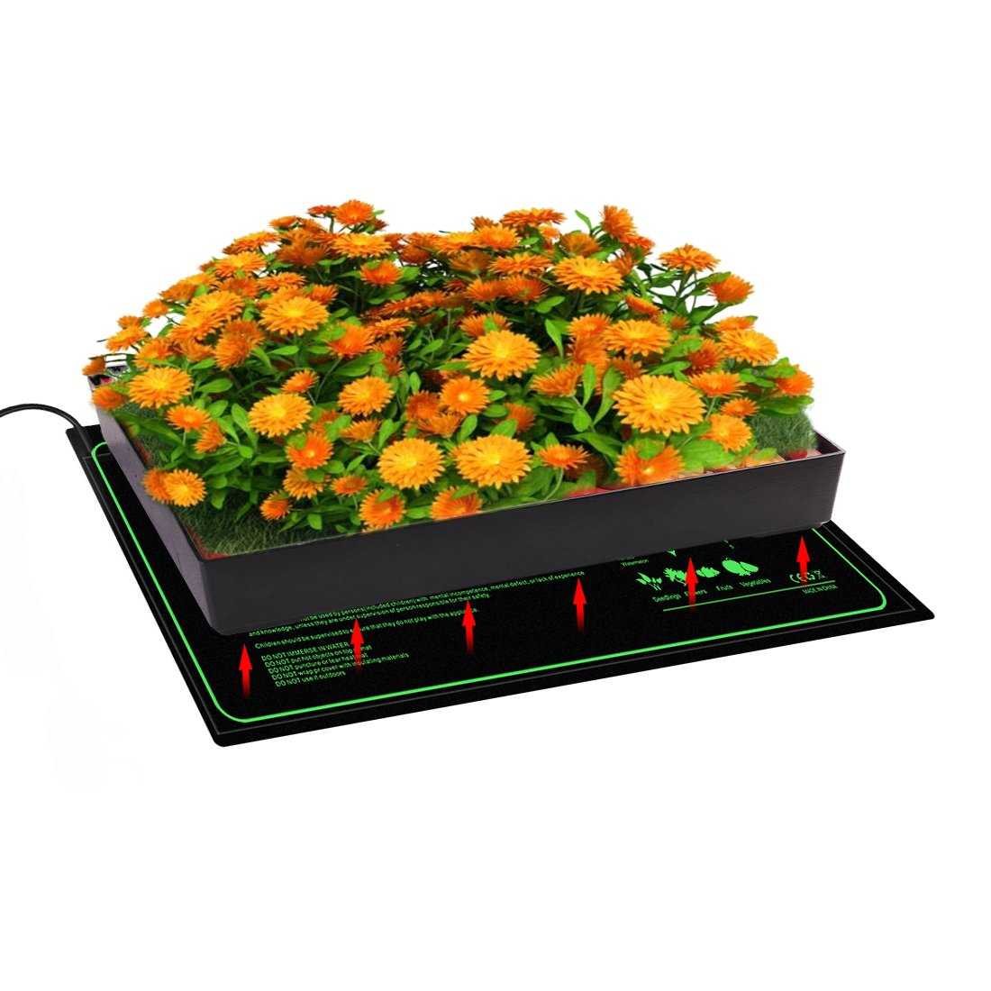 """CISNO Seedling Heat Mat for Seed Starters Carboy Fermentation Germination Cloning and Plant Propagation Waterproof Pad MET Safety Certified 10/""""x20/"""""""
