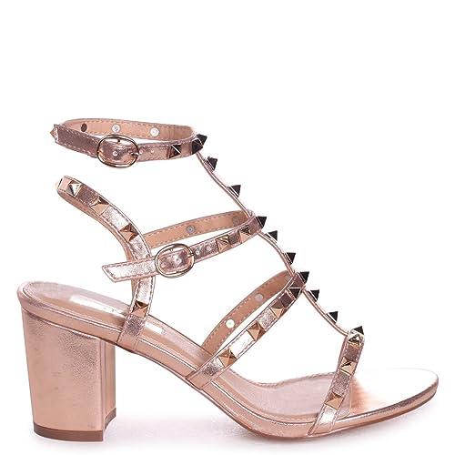 0c67d00106a Linzi Tessa - Rose Gold Studded Block Heeled Sandal  Amazon.co.uk  Shoes    Bags
