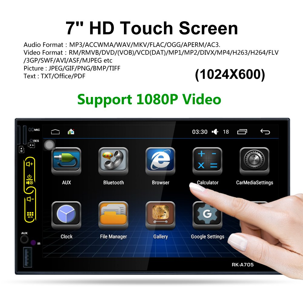 LSLYA 7 Android 6.0 Quad Core HD Capacitive Touch Screen Double 2 Din Car Radio Stereo Player Support Bluetooth 1080P//4K Auto GPS Navigation Head Unit Car Video Reverse Camera
