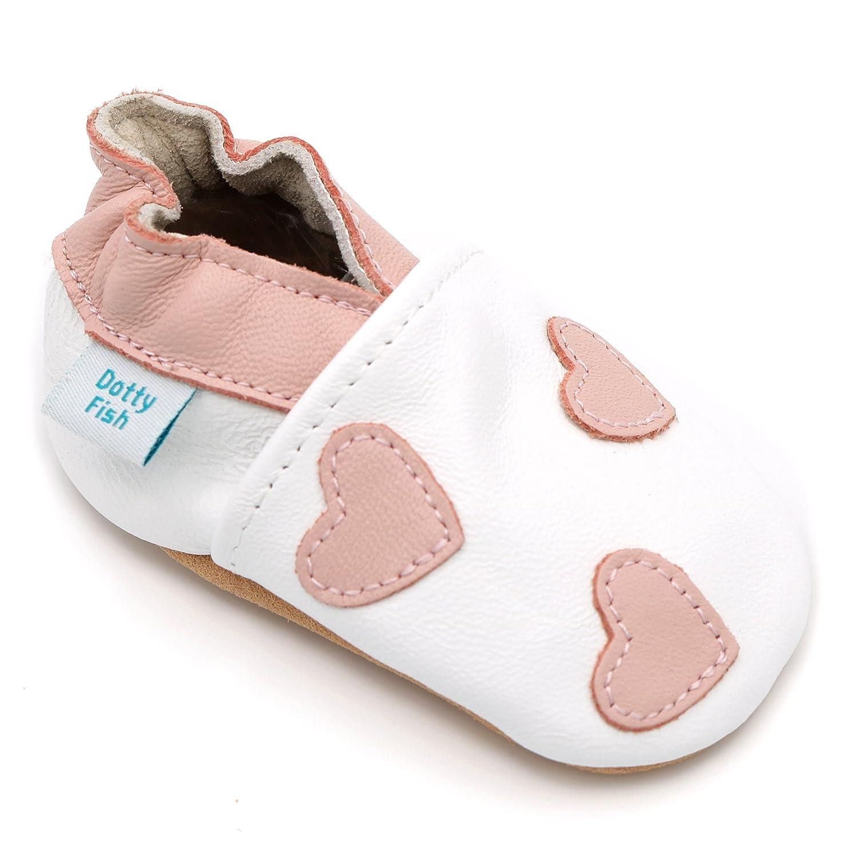 Dotty Fish Zapatos de cuero suave para bebés Niños y Niñas Estrellas