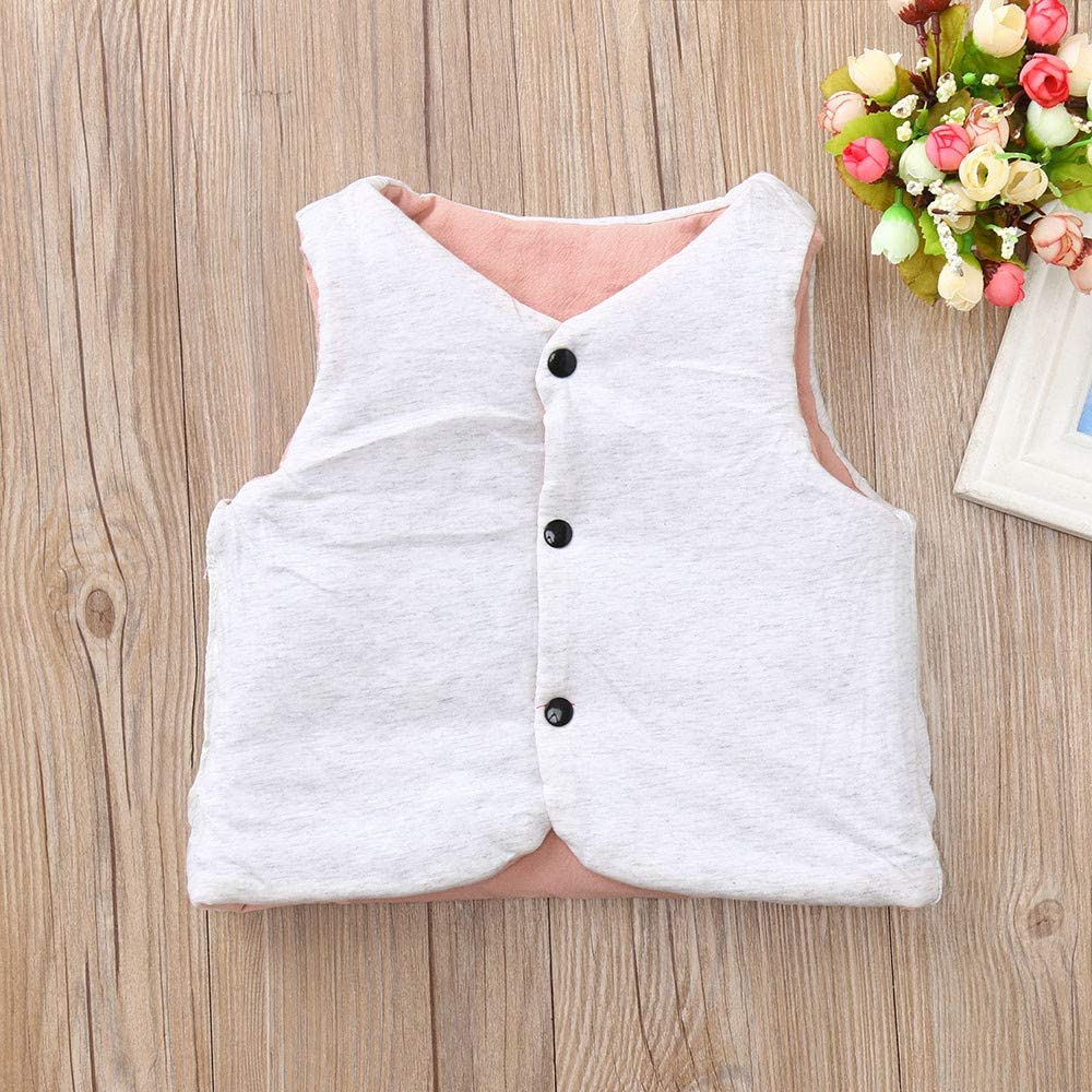kaiCran Toddler Baby Boys Girls Waistcoat Jacket Vest Sleeveless Solid Color Warm Coat Outerwear for Winter