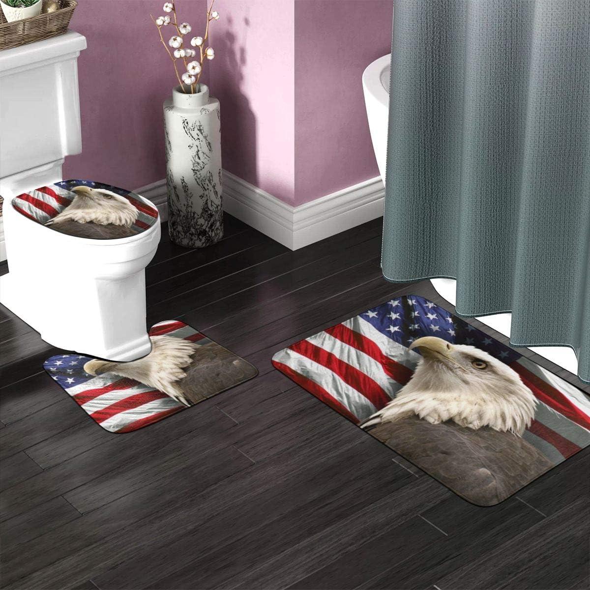 USA Flag Bald Eagle Shower Curtain Bath Mat Toilet Cover Rug Bathroom Decor Set