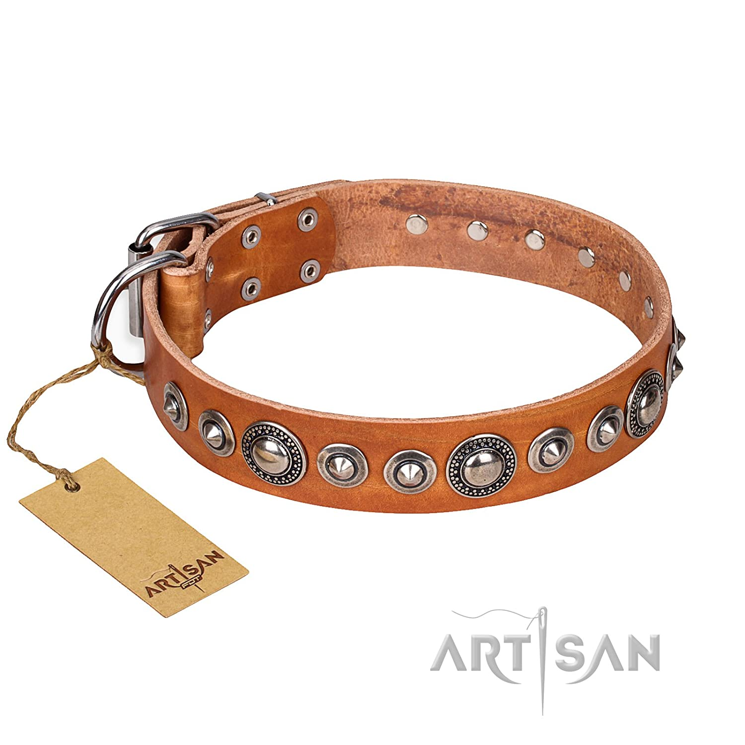 Fits for 19 inch (48cm) dog's neck size FDT Artisan 19 inch Tan Leather Dog Collar with Old Silver Like Decorations Splendid Shields
