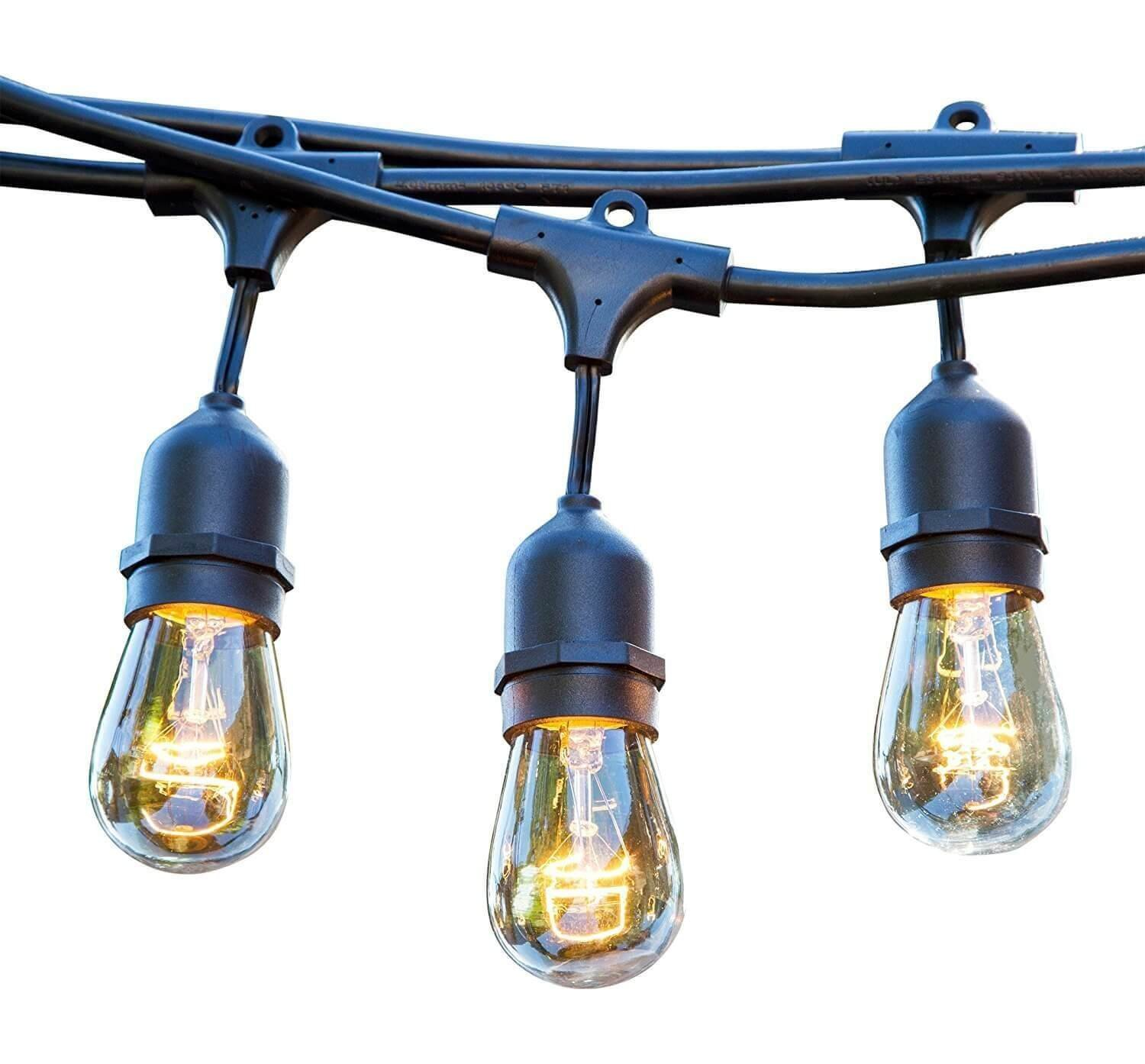 a55943f5de7 48 FT Weatherproof Outdoor String Lights - 15 Hanging Sockets - Perfect  Patio Lights - Commercial