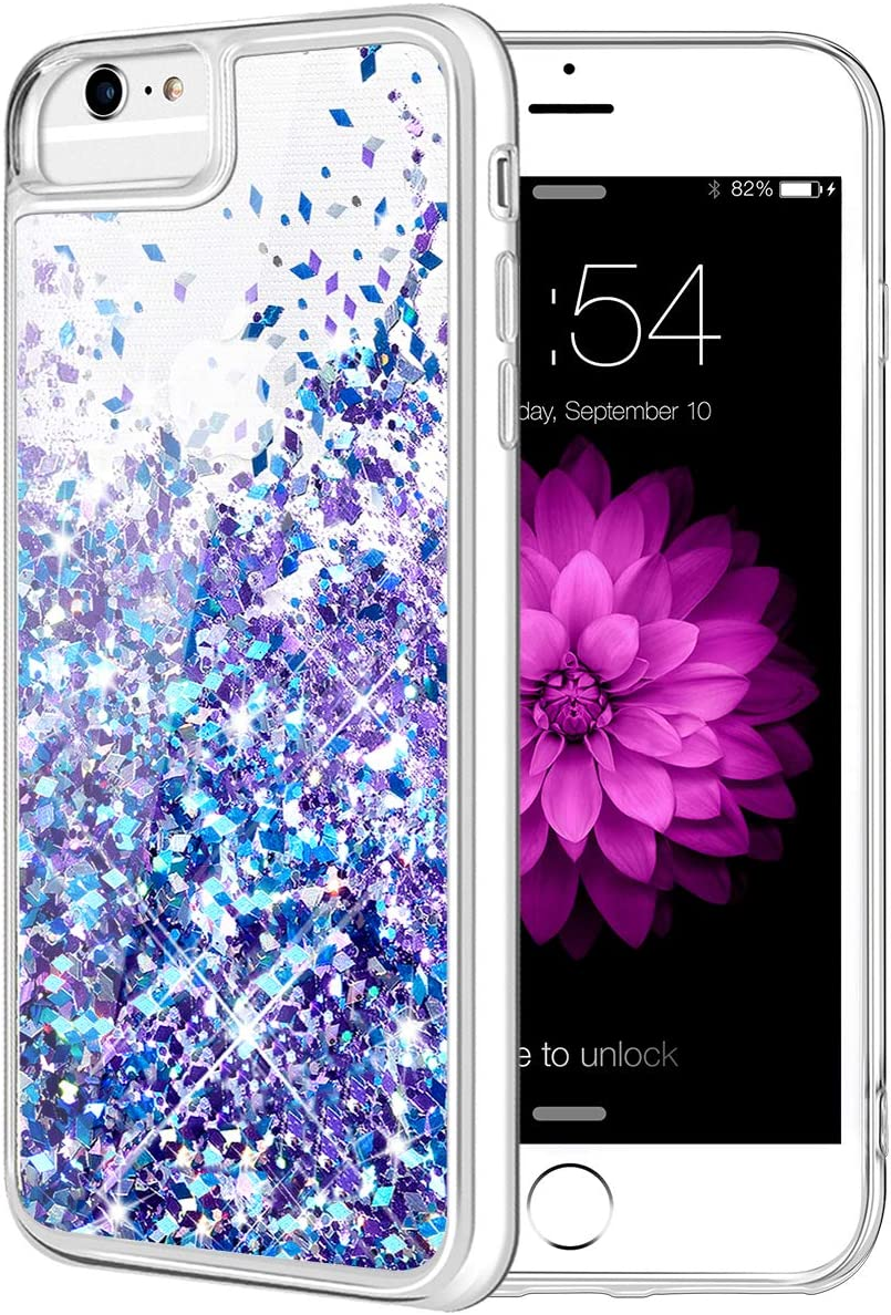 Caka iPhone 6S Plus Case, iPhone 7 Plus Glitter Case for Girls Liquid Floating Luxury Bling Sparkle Soft TPU Case for iPhone 6 Plus 6S Plus 7 Plus 8 Plus (5.5 inch) (Blue Purple)