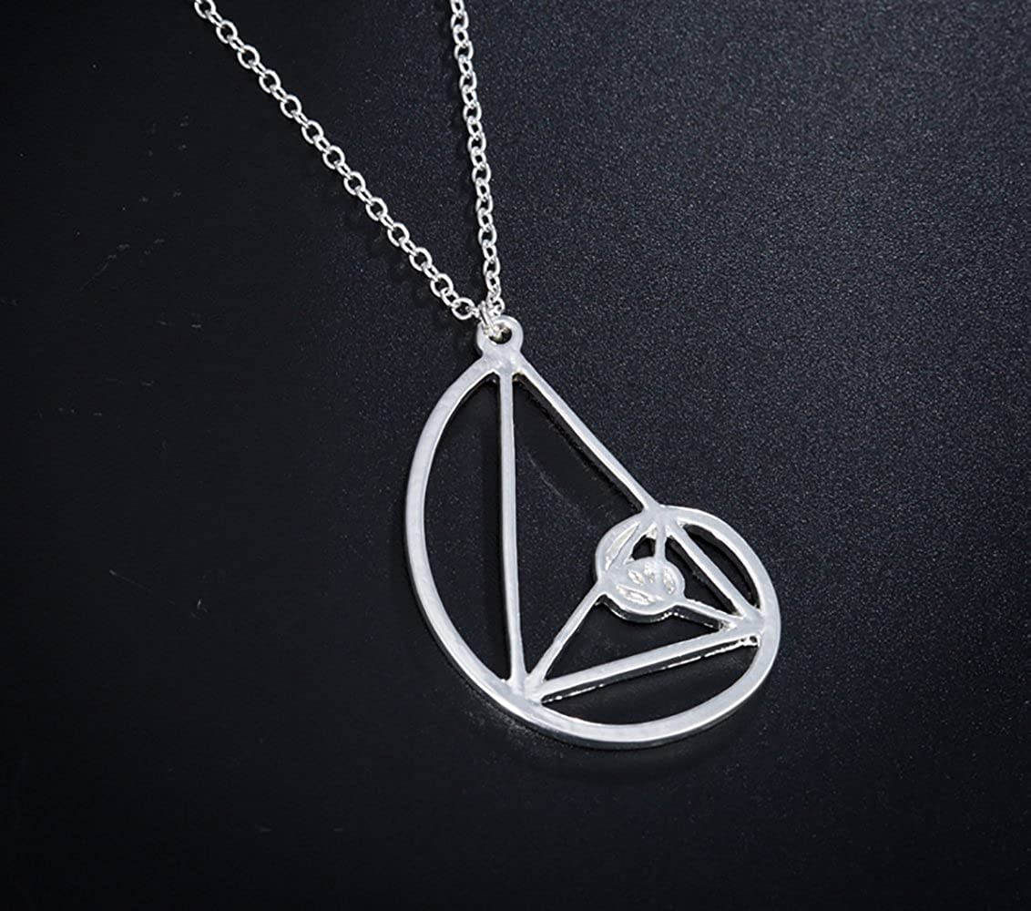 SIENNA693 Gothic Triangle Spiral Necklace Silver and Gold Fibonacci Golden Ratio Pendant Chain Necklace NP416