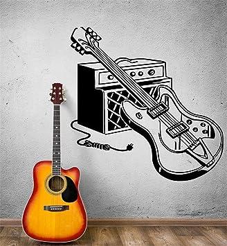 zzlfn3lv Etiqueta de la Pared de la Guitarra eléctrica Tatuajes de Pared Rock Pop Music Arte de la Pared Mural Casa Música Decoración Instrumento Musical ...