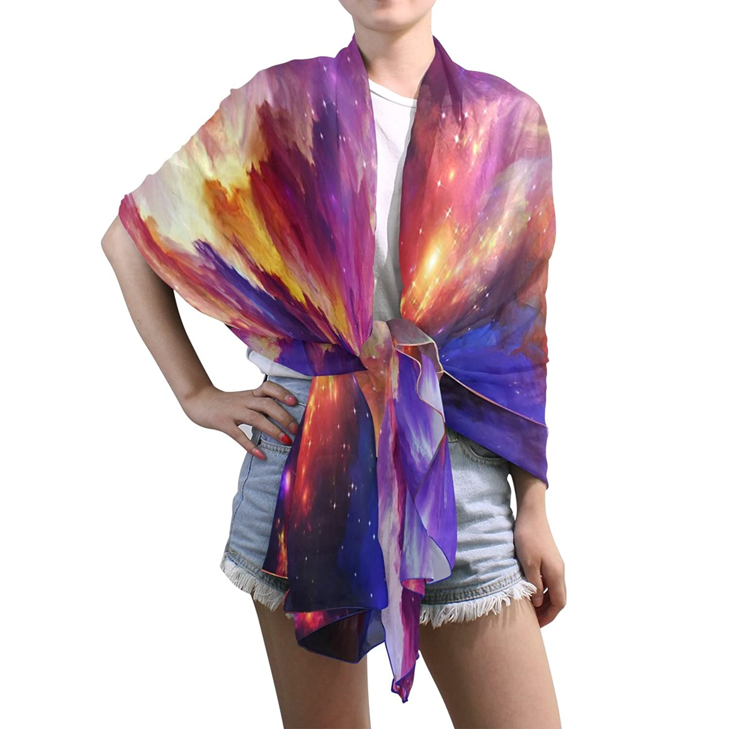Lightweight Shawl Wrap Sheer Scarves,Universe Galaxy,Oblong Chiffon Scarf 10