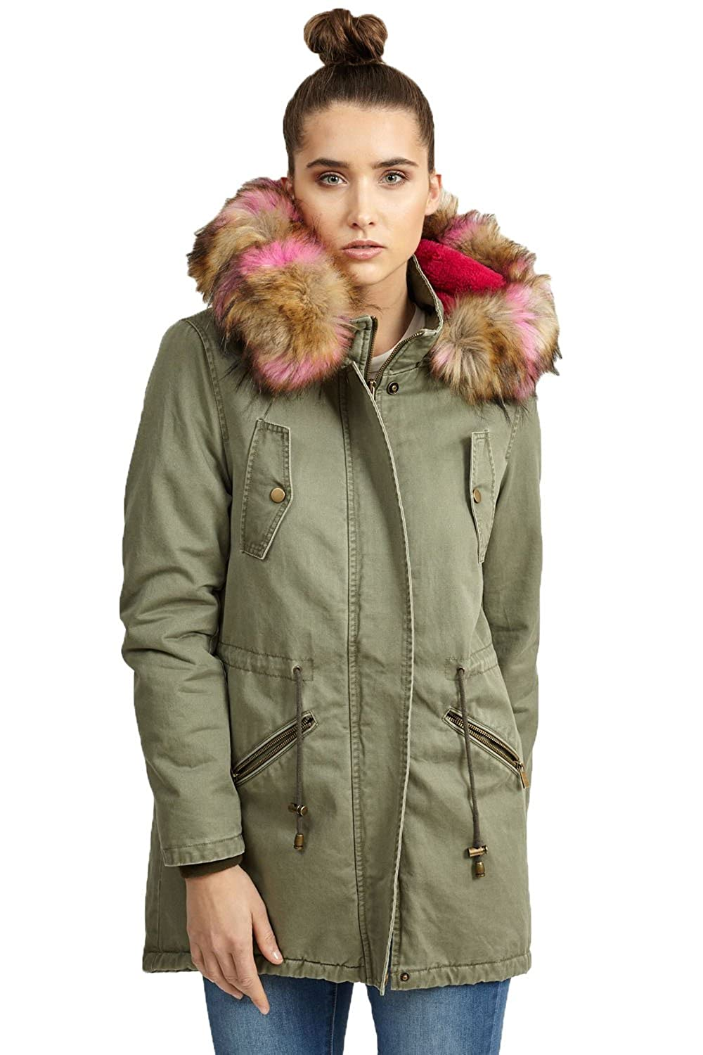 Brave Soul Womens Cotton Contrasting Faux Fur Hooded Parka Coats:  Amazon.co.uk: Clothing