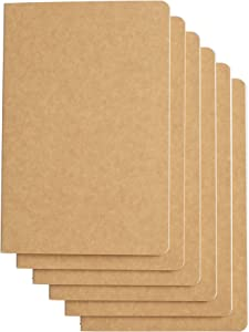 TWONE Travel Journal Set With 6 Notebook Journals for Travelers - Kraft Brown Soft Cover - A5 Size - 210 mm x 140 mm - 60 Lined Pages/ 30 Sheets