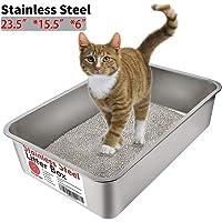 Yangbaga Katzentoilette, Edelstahl, groß, kein Geruch, Antihaftbeschichtung, kein Bücken, leicht zu reinigen