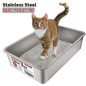 Yangbaga Arenero para Gatos Arenero para Gatos Grandes, Caja de Aseo para Gatos, Acero Inoxidable 60 * 40 * 15cm: Amazon.es: Productos para mascotas