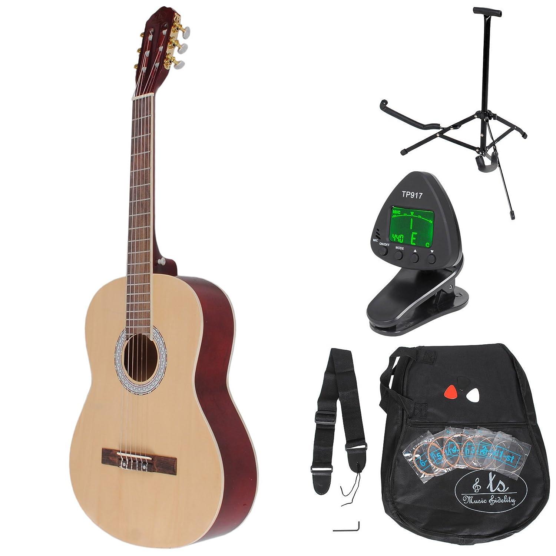 Akustik Klassik Konzert Gitarre 4/4 Natur mit hochwertigem Griffbrett und Tasche, Stimmgerä t, Gitarrenstä nder, Plektren und Ersatzsaiten ts-ideen 5335