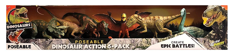 Kid Galaxy Poseable Dinosaur Action 6-Pack Create Epic Battles