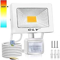CLY 20W Foco LED Exterior Luz Cálida 3000K, Focos LED Sensor Movimiento Exterior Impermeable IP66, Lámparas Led de Seguridad para Jardins, Garaje, Acera, Almacén, Balcón, Patio.