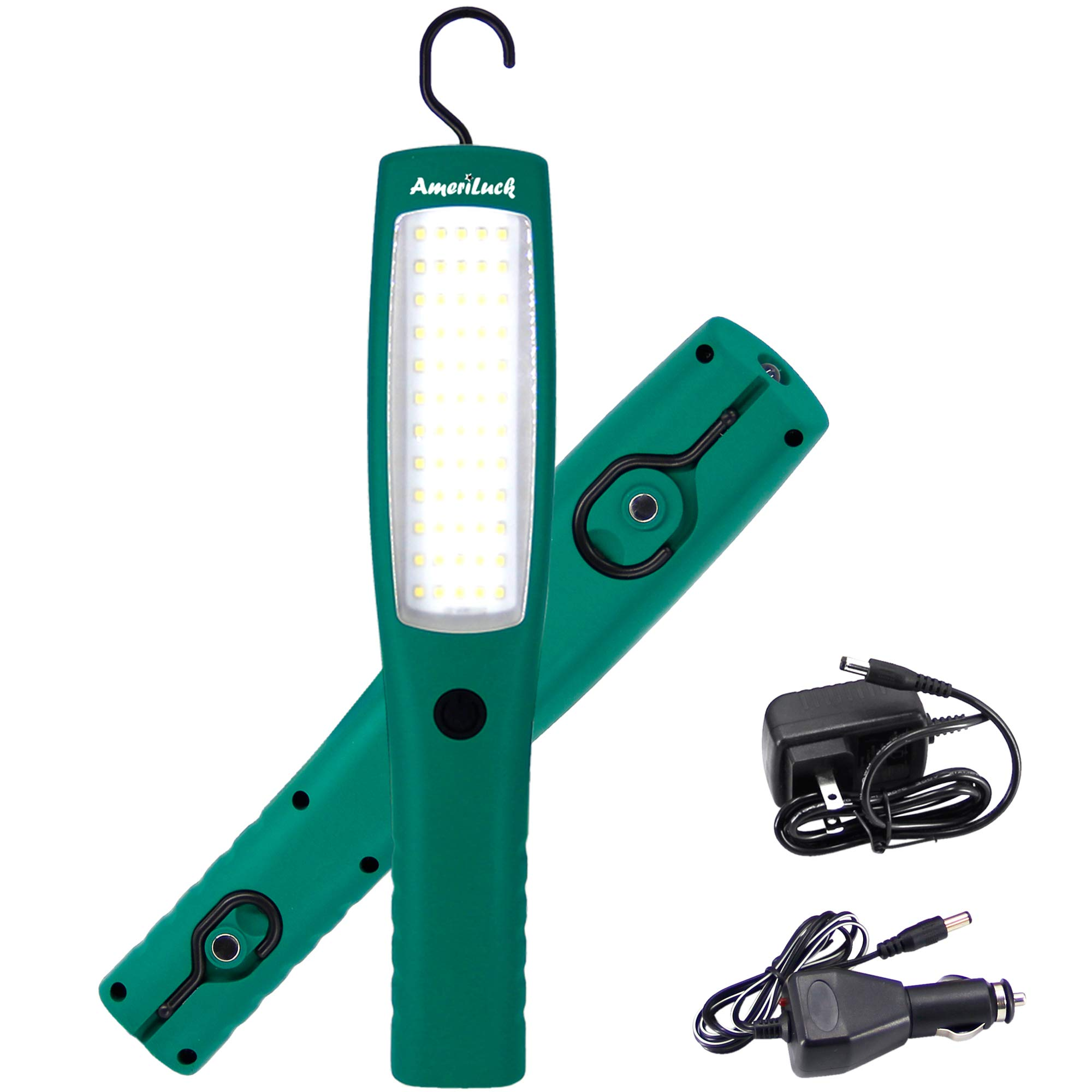 AmeriLuck Commercial Grade LED Work Light, Cordless 13'' Professional Handheld, 5,000mAh Rechargeable Portable Lamp Flashlight w/Hanging Hooks, Magnets, 60 LED Diodes Super Bright 1000+Lumens, 3 Modes