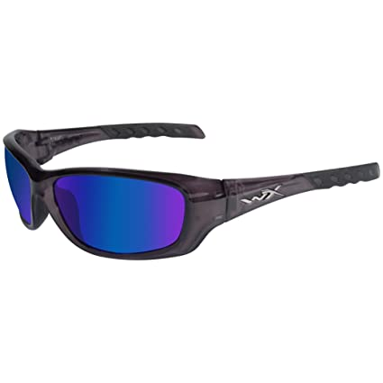 Wiley X Gravity Sunglasses, Polarized Blue Mirror, Black Crystal