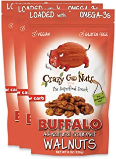 product image for Crazy Go Nuts Walnuts - Buffalo, 8 oz (3-Pack) - Healthy Snacks, Vegan, Gluten Free, Superfood - Natural, ALA, Omega-3 Fatty Acids, Good Fats, and Antioxidants