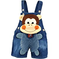 KIDSCOOL SPACE Baby Cute Summer Jean Overalls,Toddler Denim Cartoon 3D Animal Shortalls