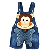 Kidscool Baby Summer Cotton Denim 3D Cartoon Monkey Soft Shorts Overalls