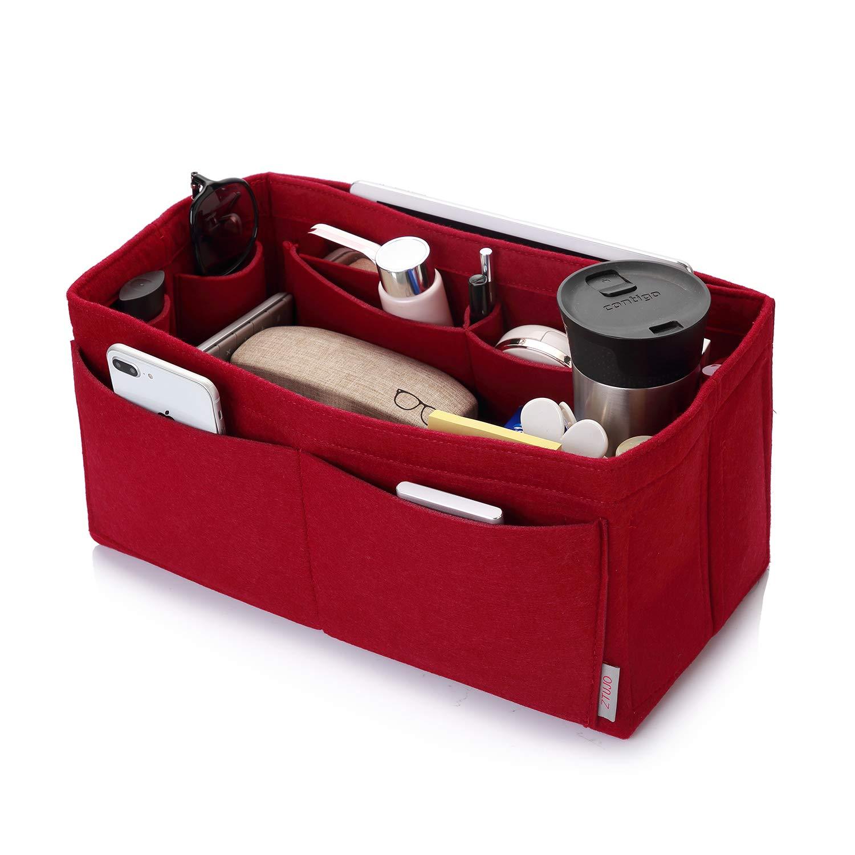 Felt Purse Organizer, Multi Pocket Bag in Bag Organizer For Tote & Handbag Shaper, Speedy 30, Speedy 35 and Speedy 40, Extra Large, Red by ZTUJO