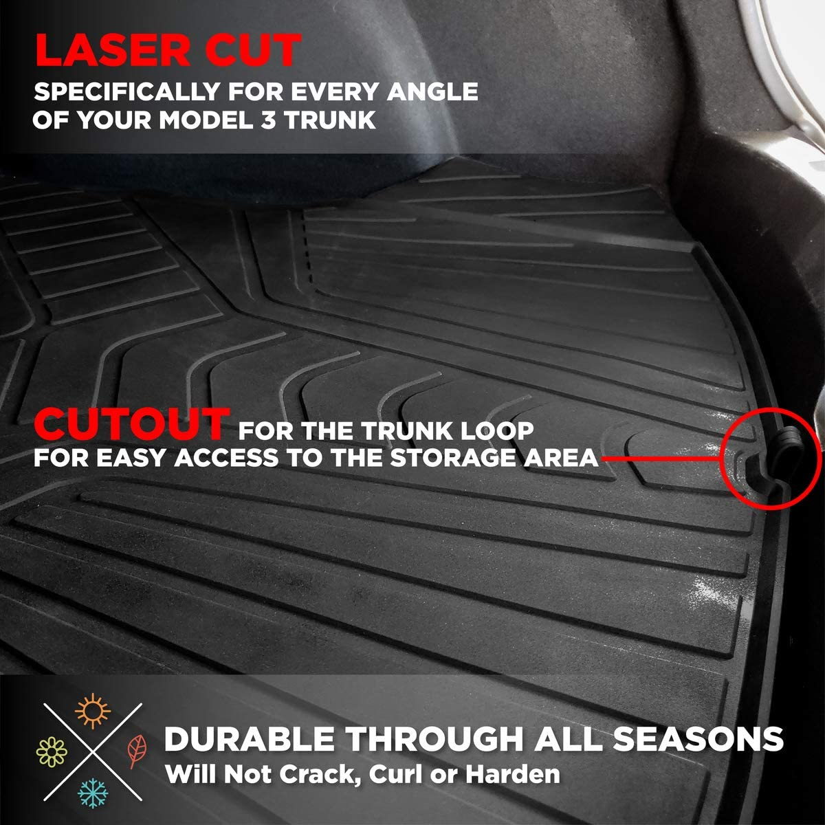 Heavy Duty /& Flexible Eco-Friendly All Season Latex Material by HEA Complete Mat Set Floor, Trunk, Frunk, Storage Accessories All Weather Mat Fits 2017-2020 #1 Tesla Model 3 Floor /& Trunk Mats