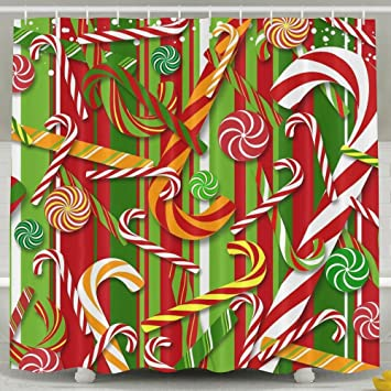 Christmas Candy Cane Shower Curtain Waterproof Water Repellent 60quot