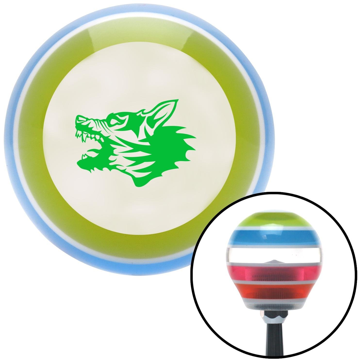 American Shifter 130310 Stripe Shift Knob with M16 x 1.5 Insert Green Angry Dog