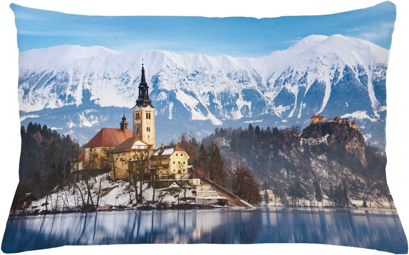 Amazon Com Ambesonne Winter Throw Pillow Cushion Cover Lake Bled In Slovenia Scenes From Europe Travel Destination Places Photo Decorative Rectangle Accent Pillow Case 26 X 16 Multicolor Home Kitchen