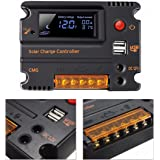 MOHOO 20A 12V 24V Solar Charge Controller Auto Switch LCD Intelligent Panel Battery Regulator Charge Controller Overload Protection (20A)