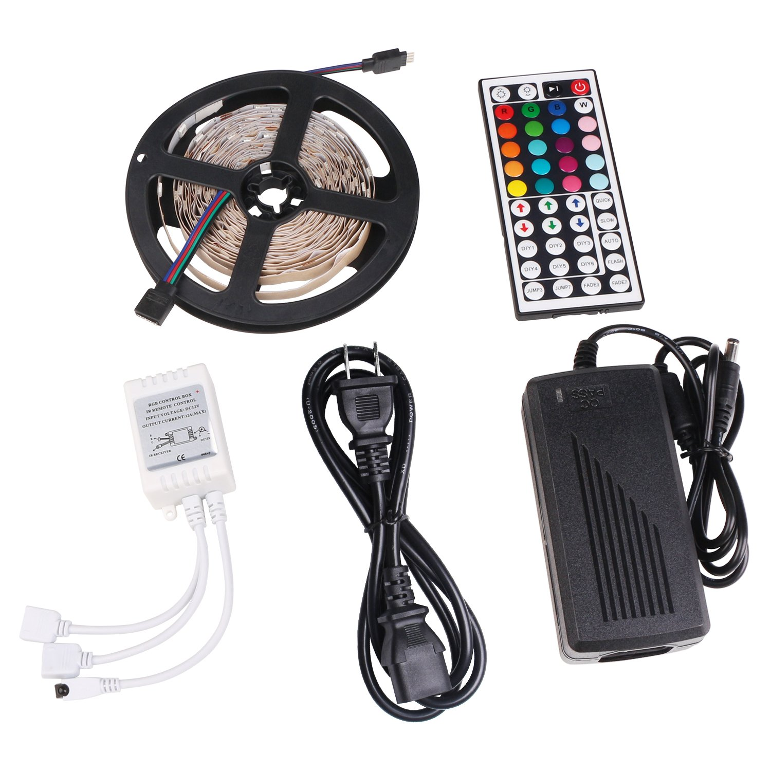 Led Strip Light, Colohas 16.4ft 5m Non-Waterproof Flexibale Color Changing RGB SMD 5050 150leds LED Strip Light Kit with 44 Key IR Rmote Controller and 12V 5A Power Supply for Indoor Decoratoon