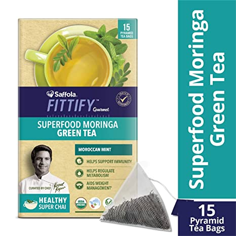 Saffola FITTIFY Gourmet Superfood Moringa Green Tea, Moroccan Mint, 15 Sachets, 37.5g