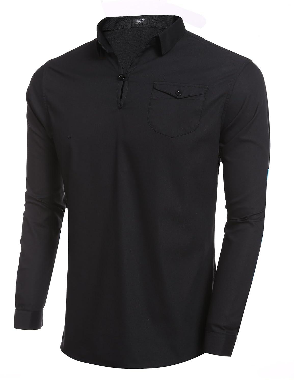 Coofandy Men's Cotton Long Sleeve Shirt Casual T shirt