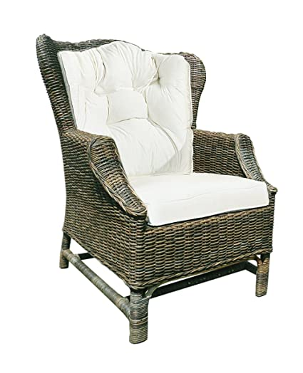 D ART COLLECTION Rattan Wicker Wingback Lounge Chair
