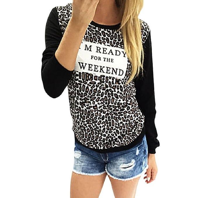 Tongshi Moda Mujer Leopardo de impresión de manga larga Casual camiseta floja remata la blusa (