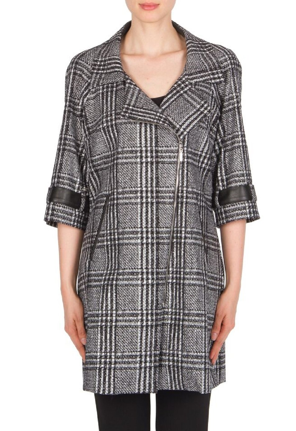 Joseph Ribkoff Full Length Coat with Oversized Glen Plaid Print Style 174793 Size 12 by Joseph Ribkoff