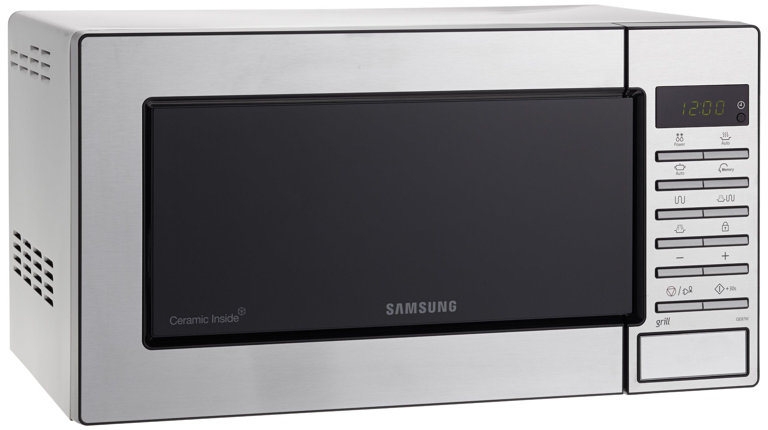 Samsung GE87M-X/XEC - Microondas con grill, 23 litros, 800 W, interior cerámico, color gris product image