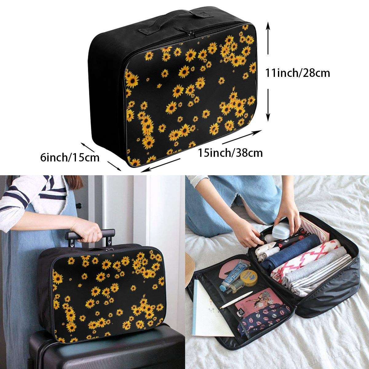 Sunflower Floral Pattern Travel Lightweight Waterproof Foldable Storage Carry Luggage Duffle Tote Bag Large Capacity In Trolley Handle Bags 6x11x15 Inch