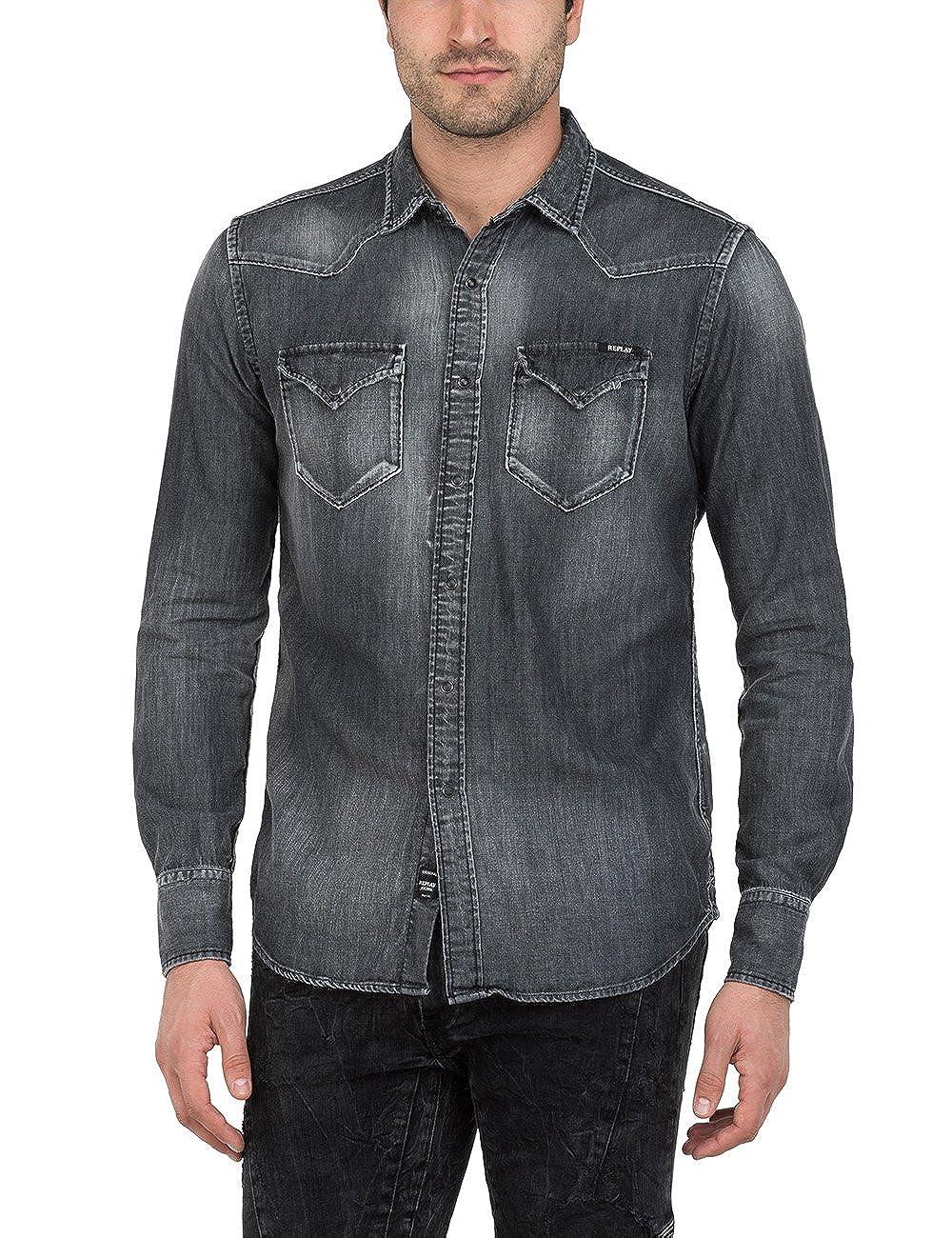 TALLA S. REPLAY Camisa Vaquera para Hombre