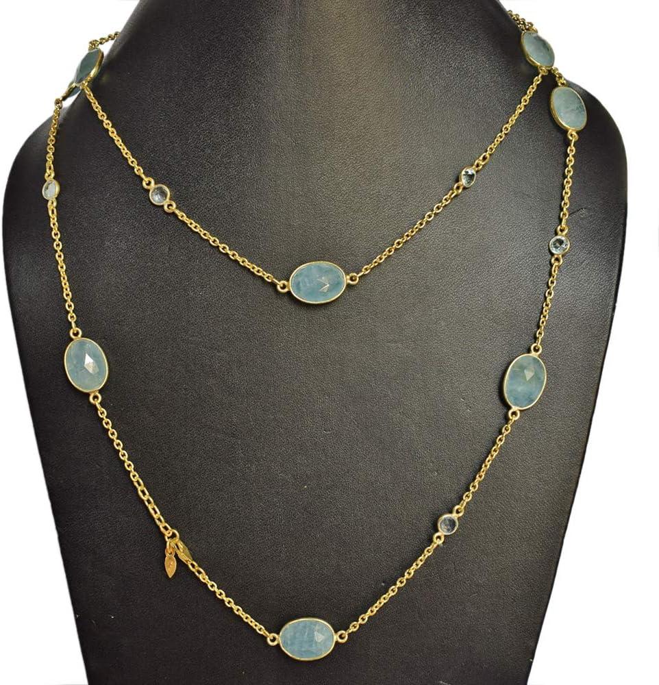 Collar de piedras preciosas de aguamarina con chapado en oro amarillo 925 maciza hecho a mano, joyería para mujer FSJ-4252