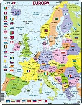 Carte Deurope Avec Zoom.Puzzle Rahmen Carte D Europe Politique 48 Pieces A K02