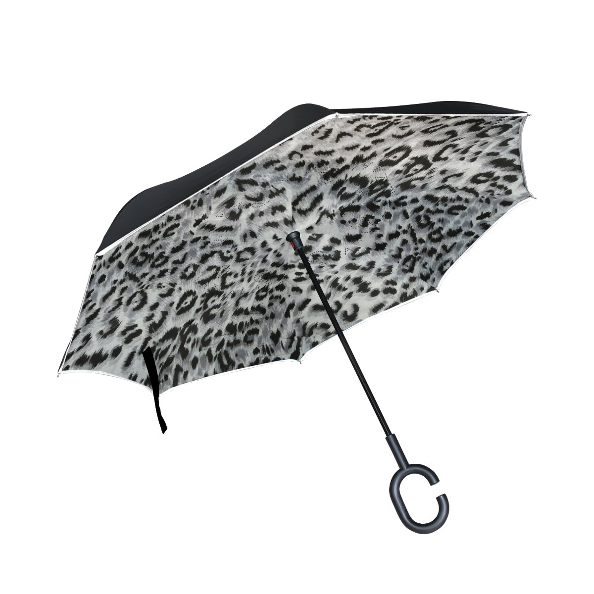 thenahome Reverse Inverted Auto Open Umbrellaコンパクト軽量Straight Umbrellas With Leopard Skinテクスチャfor Car &アウトドア   B07C4R63HX