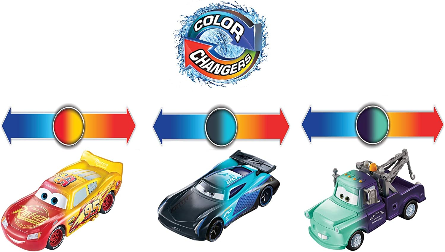 Mater /& Bobby Swift 3-Pack Gift for Kids Age 3 Years and Older ​Disney and Pixar Cars Color Changers Lightning McQueen